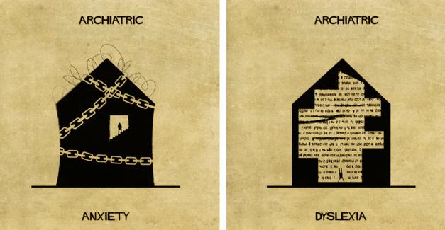 Ilustrador usa arquitetura para representar distúrbios mentais